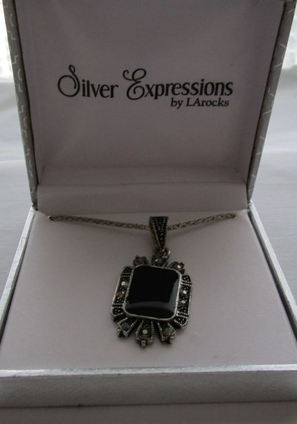 Vtg silver box   Etsy Vintage Boxed 22  SILVER NECKLACE With Black MERCASITE Onyx Pendant   Silver  Expressions  By LArock