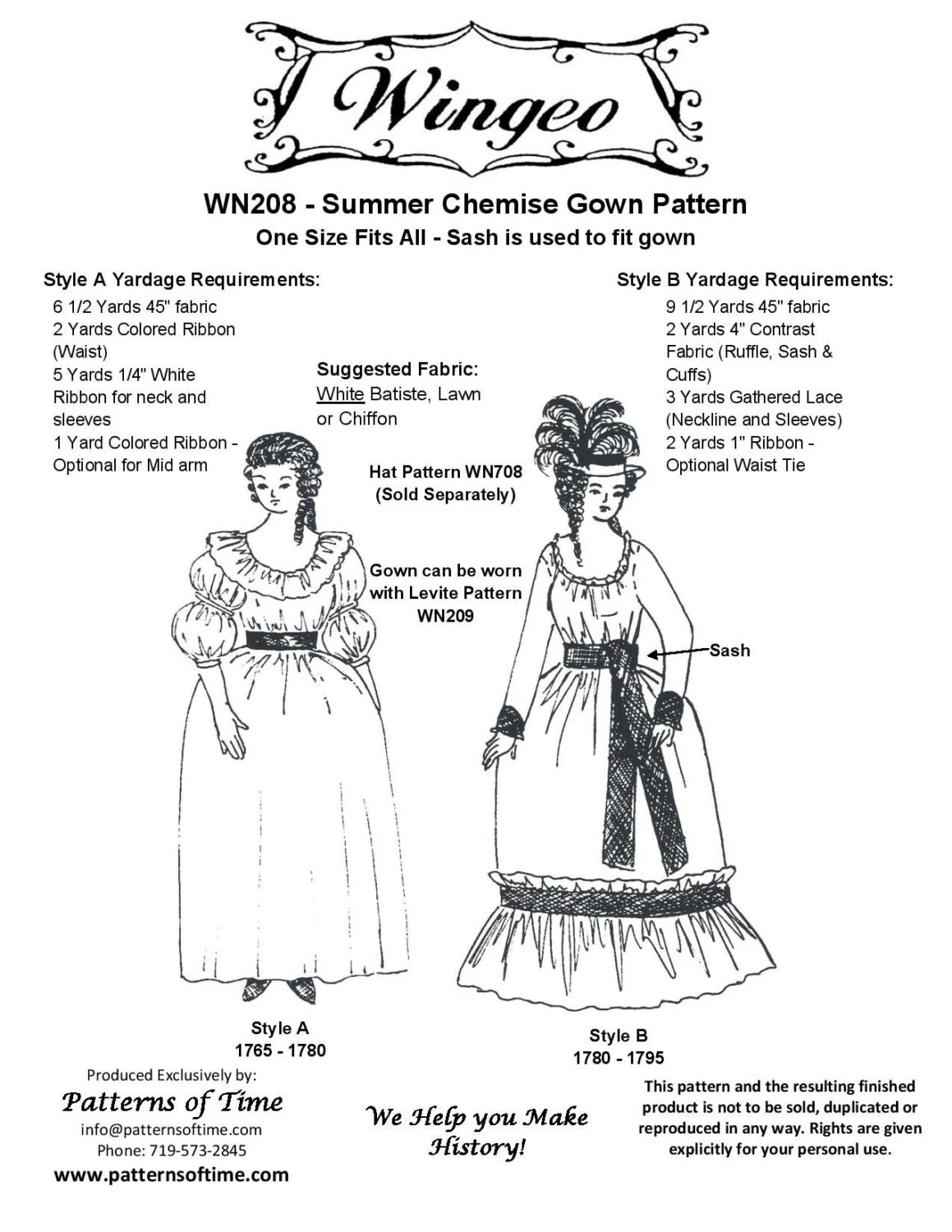 Wn208 Summer Chemise Gown Sewing Pattern By