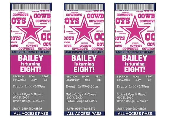 Girl S Dallas Cowboys Birthday Party Ticket Invitations Custom Personalized Digital File You Print