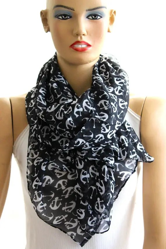 Anchor black shawl scarf