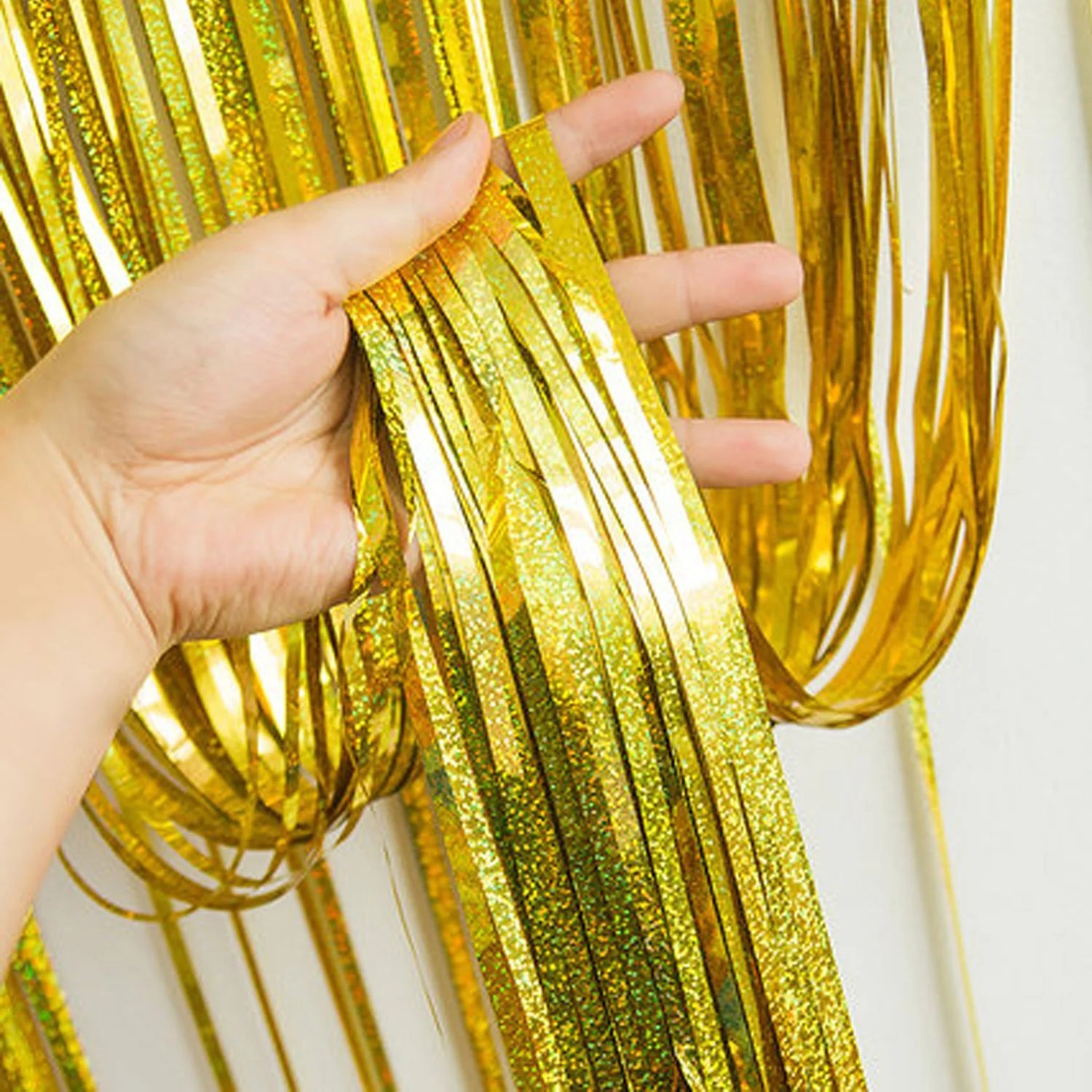 foil fringe curtains party decoration photo booth photo wall gold silver back drop wedding decoration wedding photo prop laser gold
