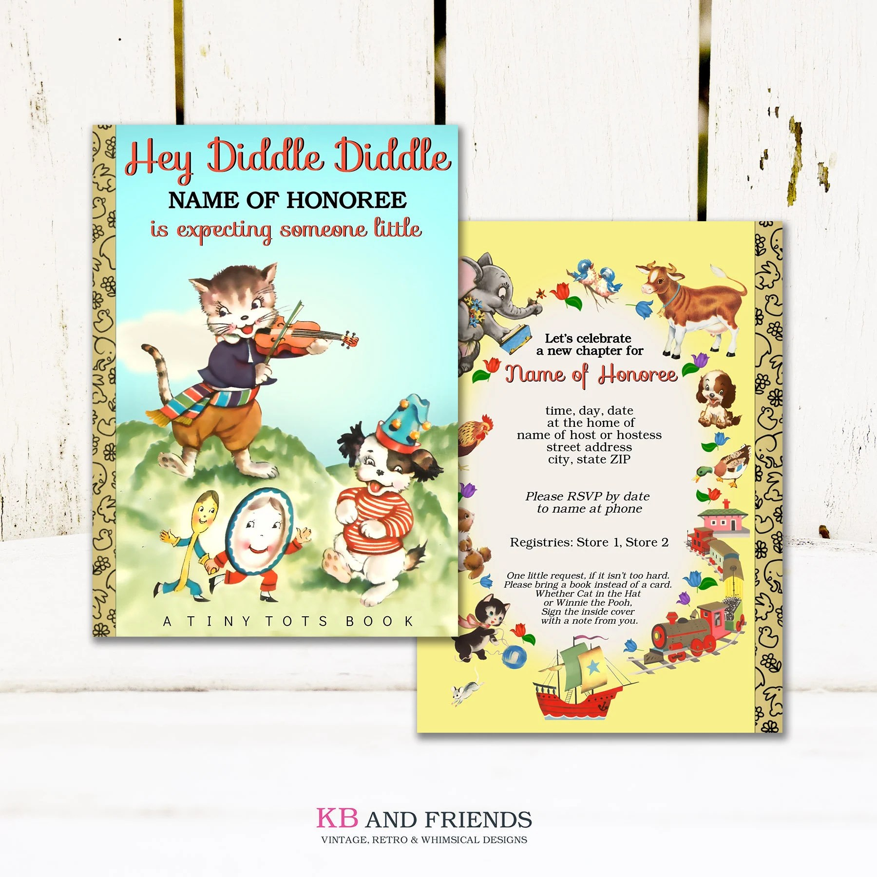 Hey Diddle Diddle Nursery Rhyme Book Baby Shower
