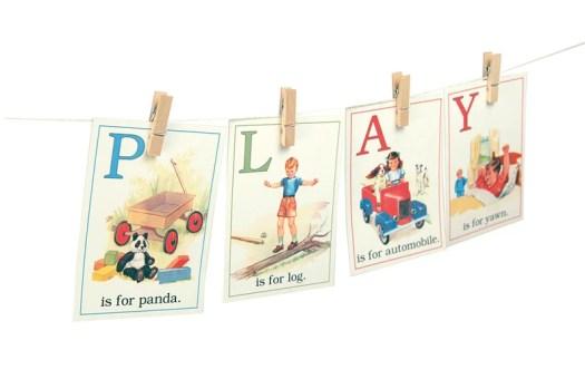 Digital retro children ABC flashcards / 3 by 4.2 / image 0