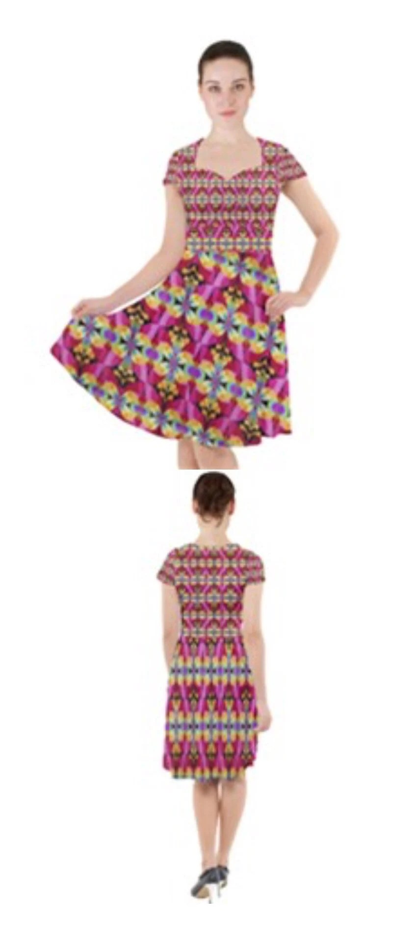 Cap Sleeve Midi Dress...
