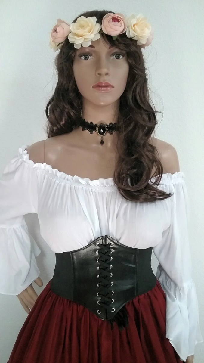 renaissance blouse chemise pirate medieval peasant top steampunk bell sleeve off shoulder long sleeve s 2xl