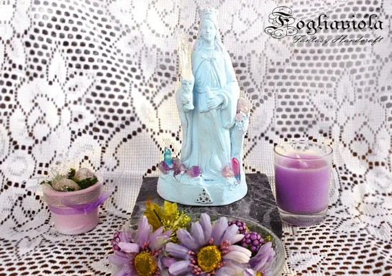 Goddess Crystal Statue Witch Altar Pagan Decor Sacred Tool Wicca Religious Sculpture Shabby Madonna Light Gaia Mother Nature Ooak