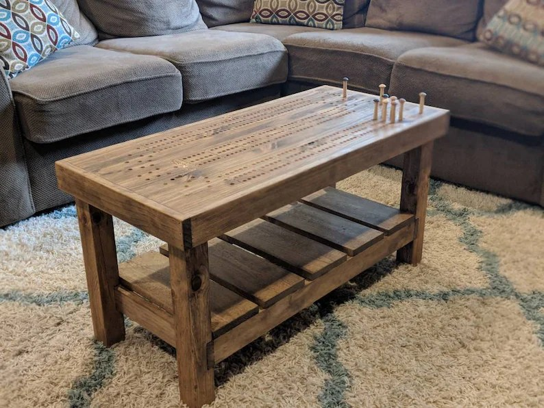 cribbage board coffee table with cribbage pegs and new storage compartment beautiful cabin furniture