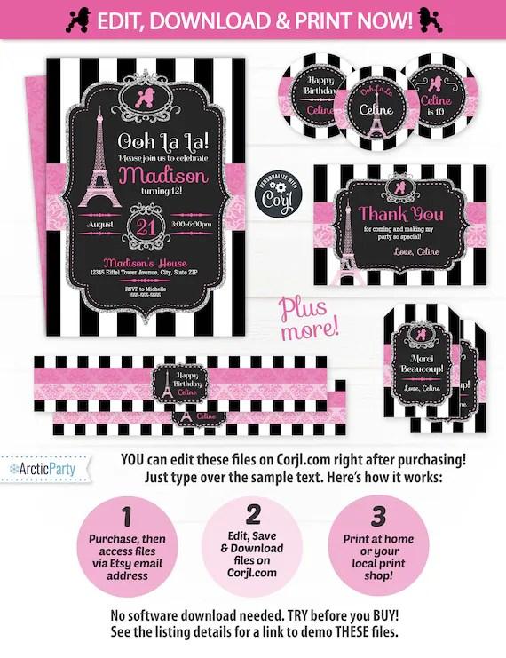 Paris Birthday Party Invitations Paris Party Supplies Etsy