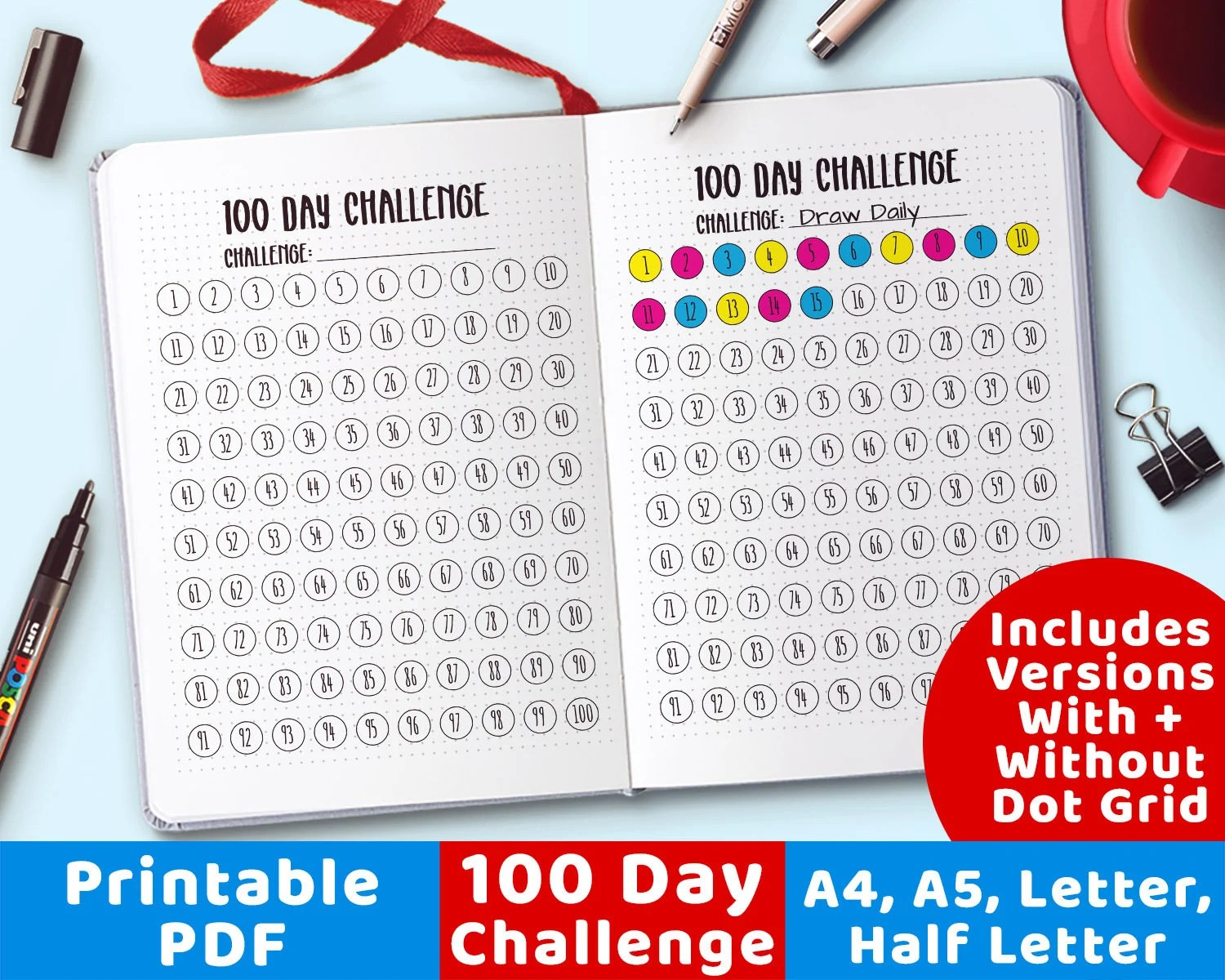100 Day Challenge Printable Bullet Journal 100 Day Project