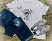 """Bee KIND Vinyl Decal for T-Shirt 8x8"""" Black"""
