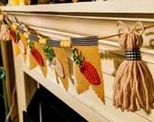 Carrots & Tassels Farmhouse Garland | Burlap Pennant Mantel Banner | Farmhouse Mantel Decor