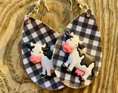 Black and White Gingham - Buffalo Check Teardrop Leather Earrings - Cow