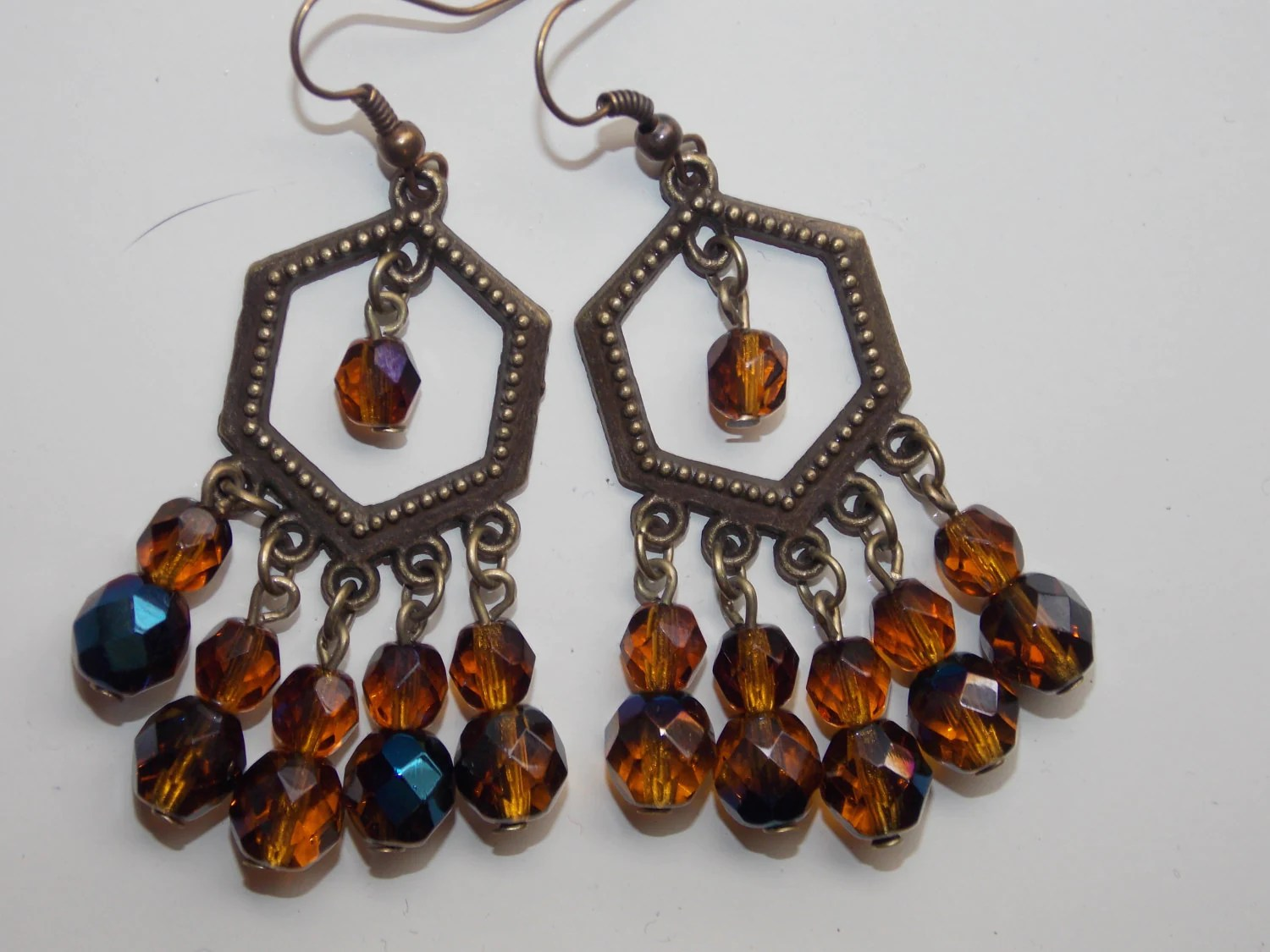 Amber Brown With Blue Finish Czech Glass Bronze Chandelier