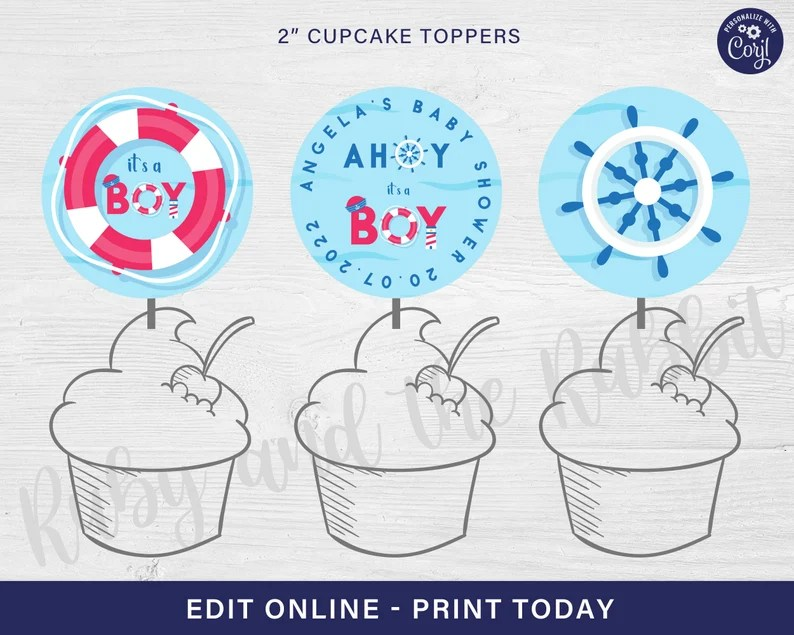 AHOY IT'S A BOY baby shower cupcake toppers