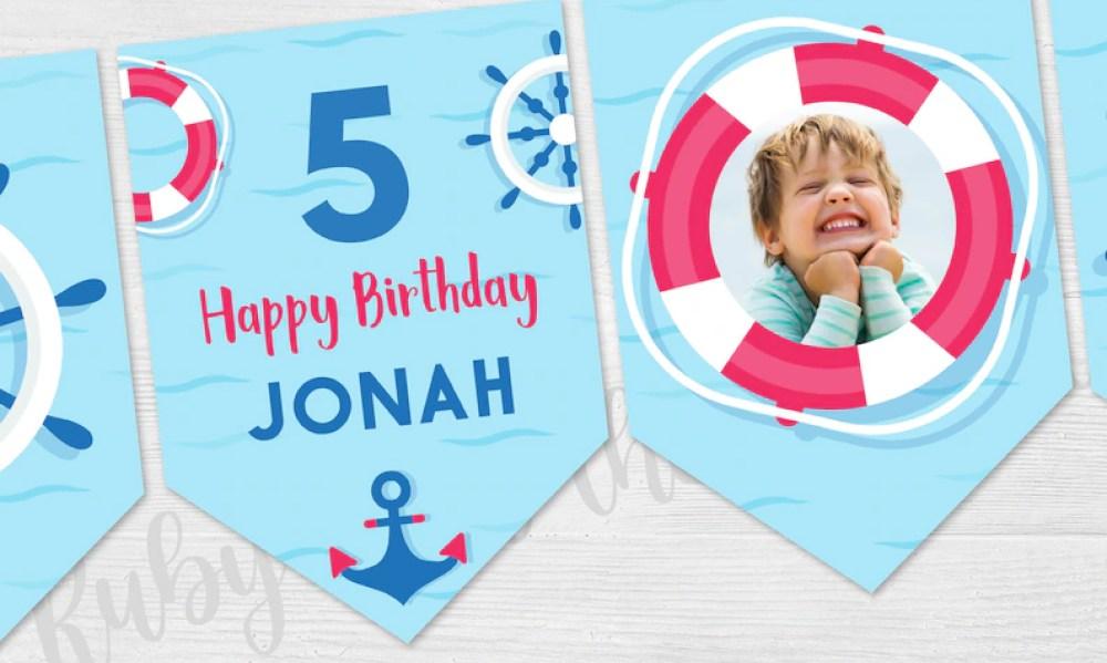 Nautical Happy Birthday Banner