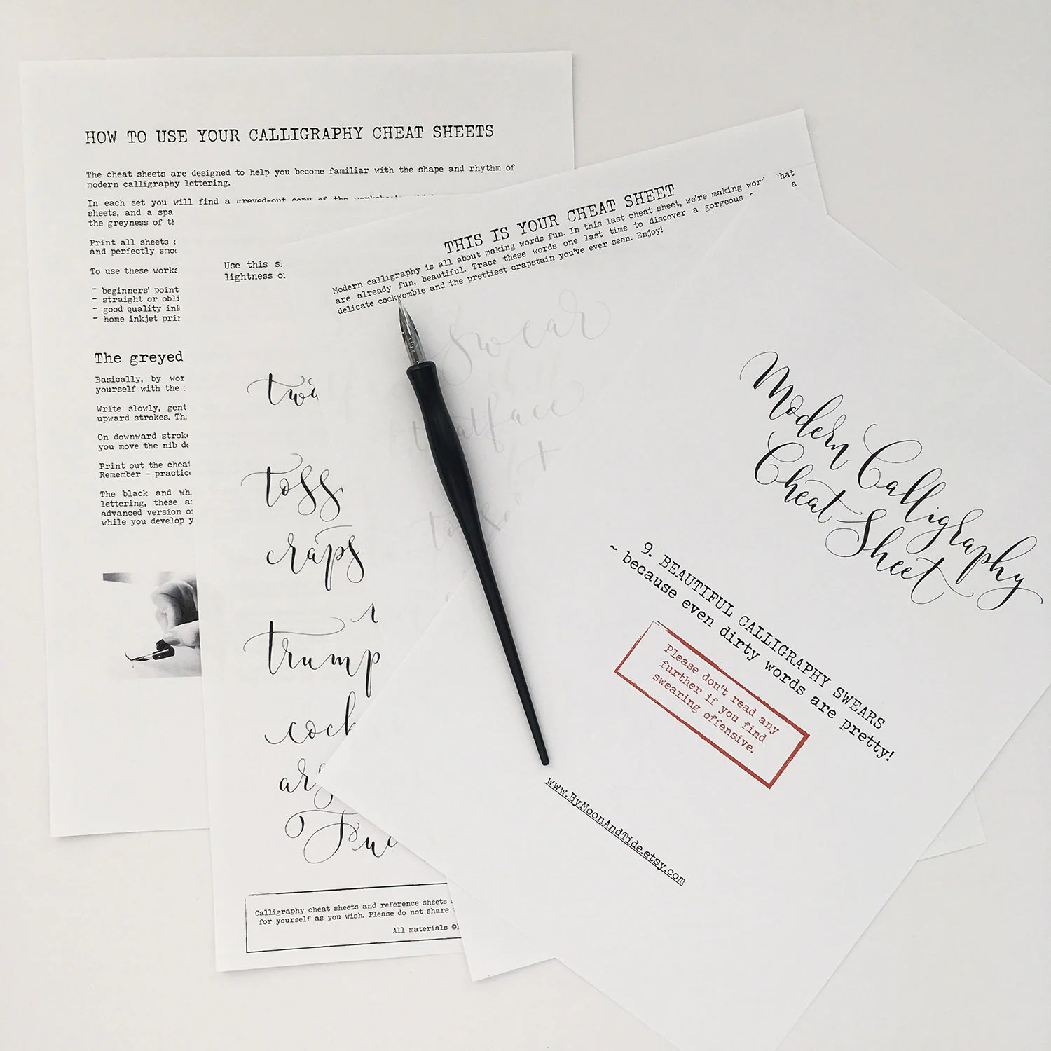Calligraphy Cheat Sheet 9 Of 9 Beautiful Swears Instant