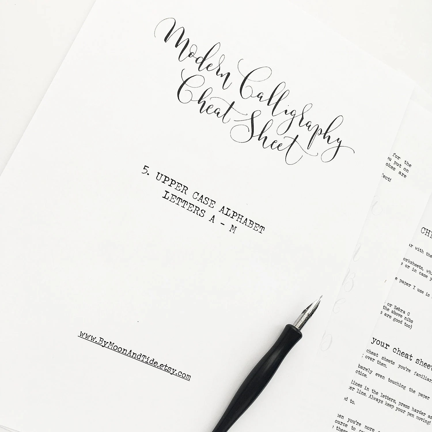 Calligraphy Cheat Sheet 5 Of 9 Upper Case Letters A