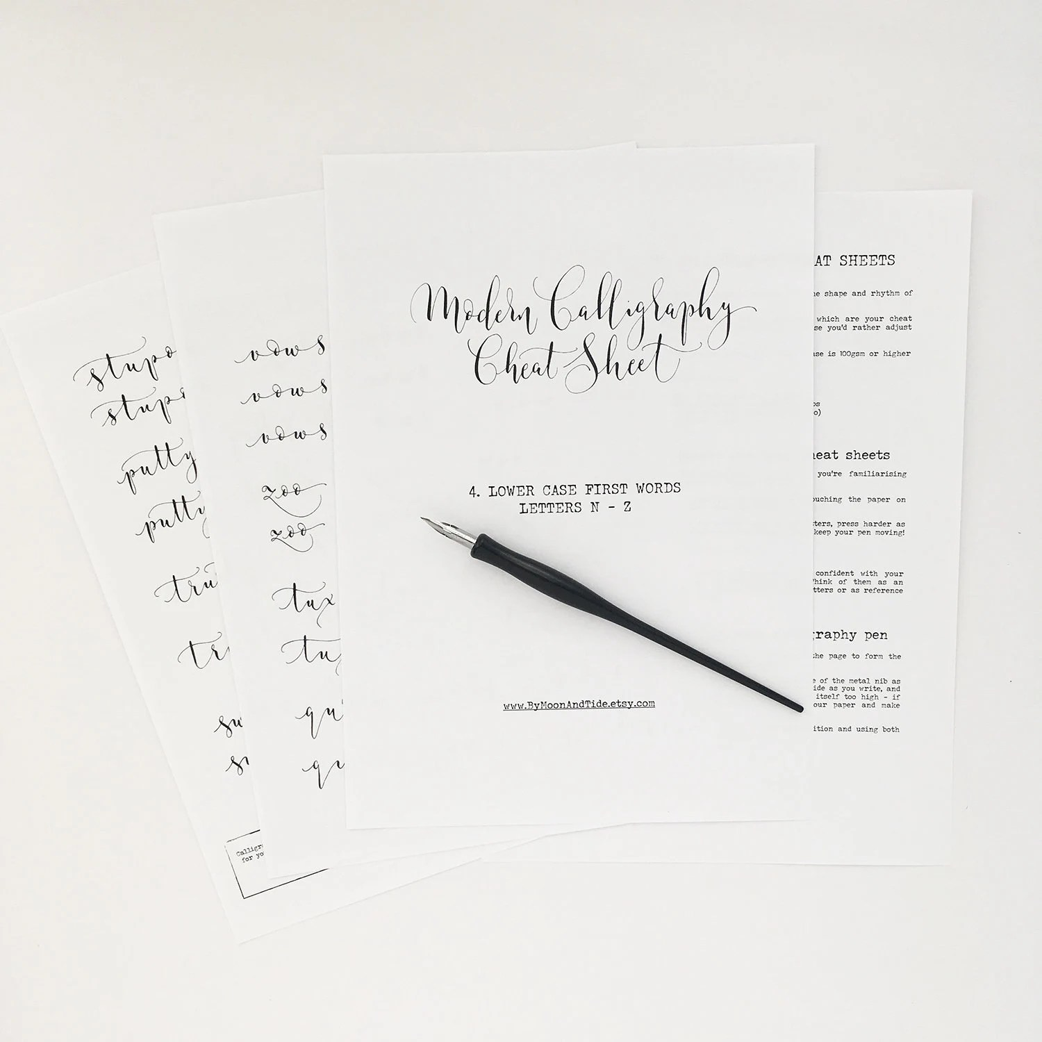 Calligraphy Cheat Sheet 4 Of 9 Lower Case Words N