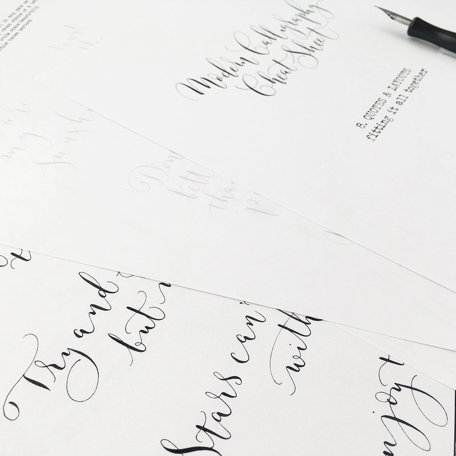 Calligraphy Cheat Sheet 8 Of 9 Quotes Amp Layouts Instant