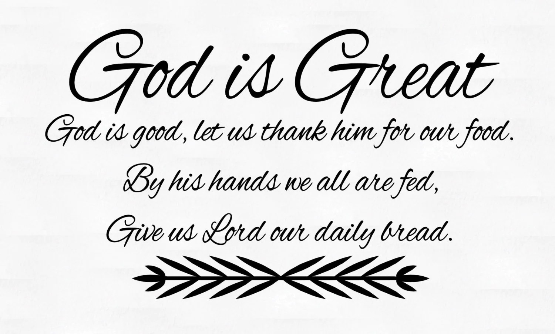 God Is Great God Is Good Dinner Prayer Vinyl Wall Decal