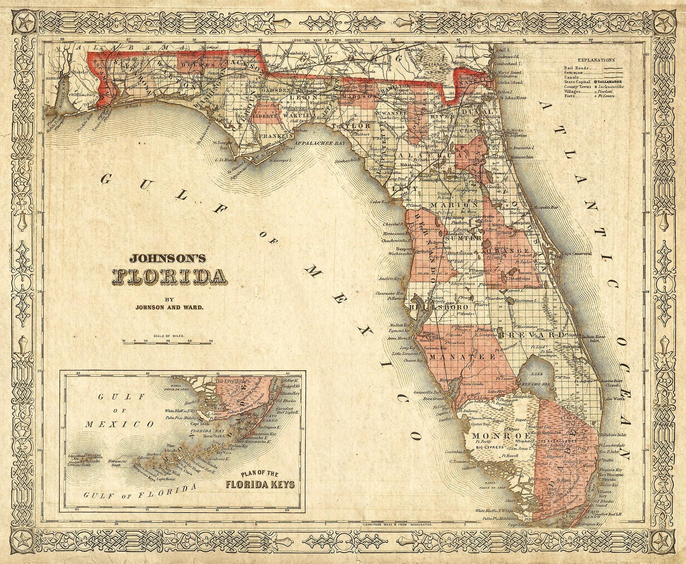 Old Florida Map Johnson S Map Of Florida Restoration
