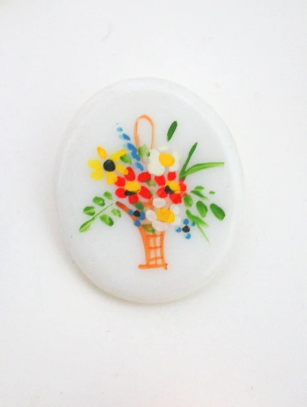 1950s Oval Hand-Painted W...