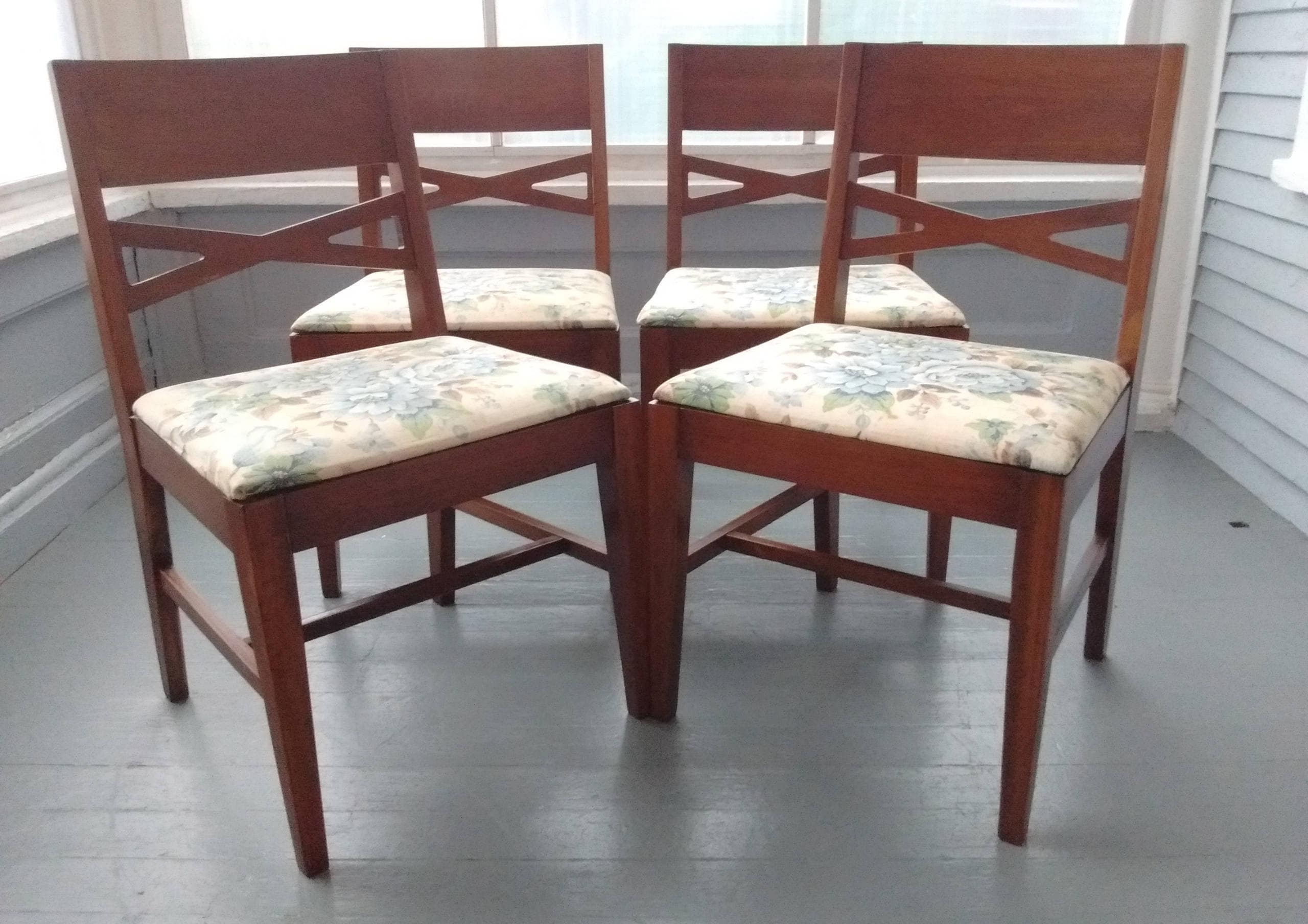 Vintage Set Of Four Wood Dining Chairs Danish Modern Mid