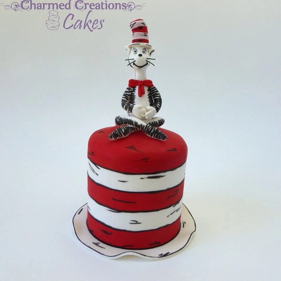 Cat In The Hat Cake Topper Edible Fondant Icing Etsy