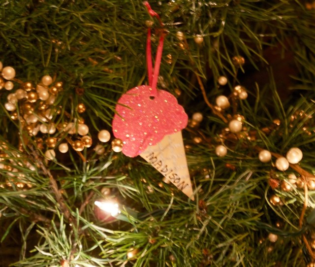 Personalized Ornament Ice Cream Cone Hand Personalized Wooden Ornament Personalized Christmas Ornament Gift Tag Holiday Tree Ornament