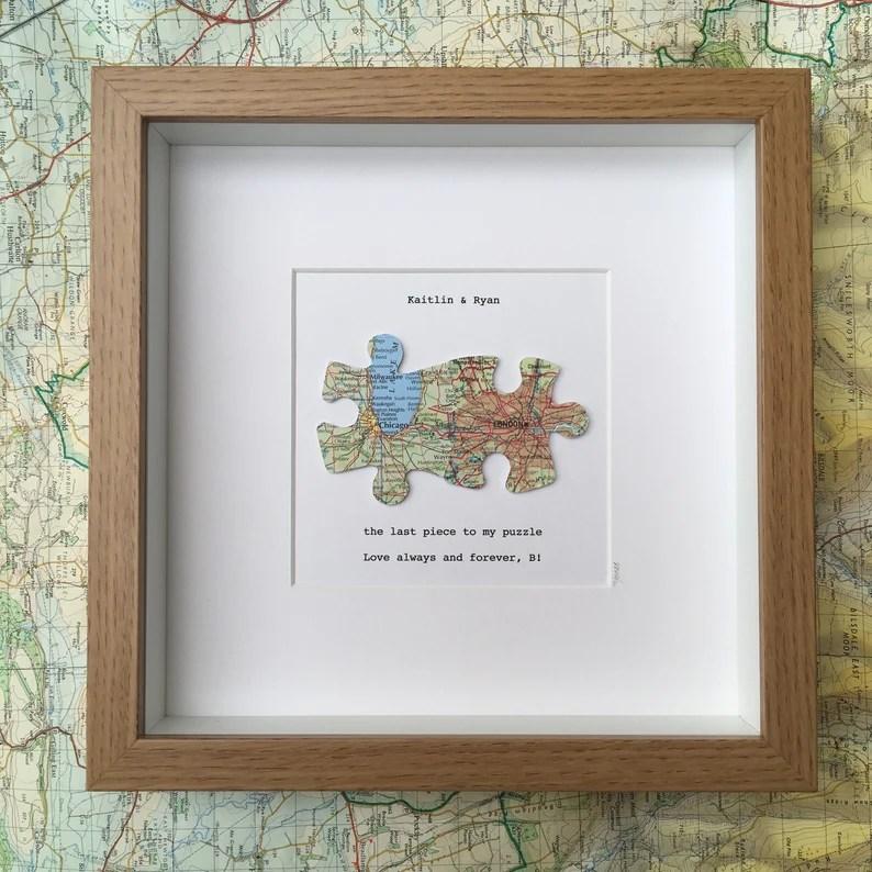 Jigsaw puzzle custom map art  WOOD EFFECT frame  LDR gift  image 0