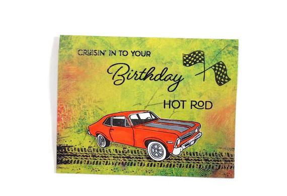 Happy Birthday Hot Rod Card Cruisin Into Your Birthday Etsy