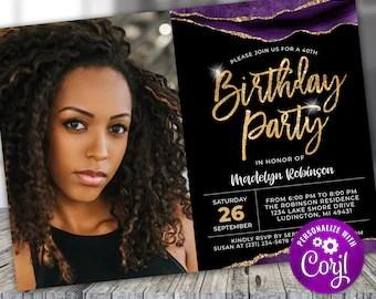 purple gold invite etsy
