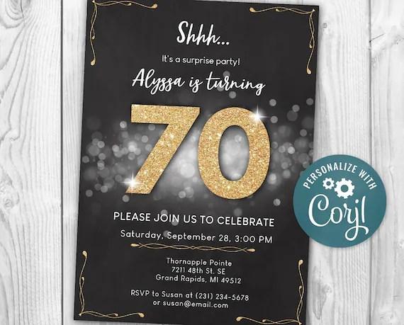 Surprise 70th Birthday Invitation Seventy Invite Party Black N Etsy