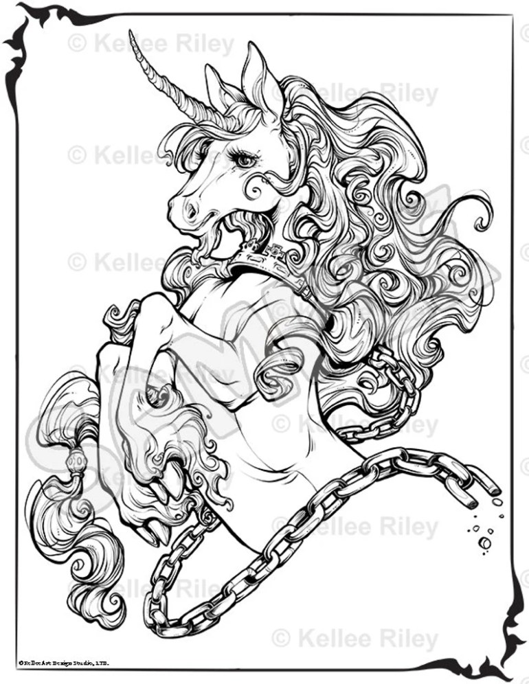 Unicorn Adult Coloring Pages   Etsy   free printable coloring pages for adults unicorns