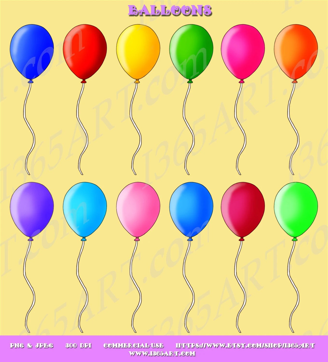 Party Balloon Clipart Balloon Clip Art Assorted Colors Etsy