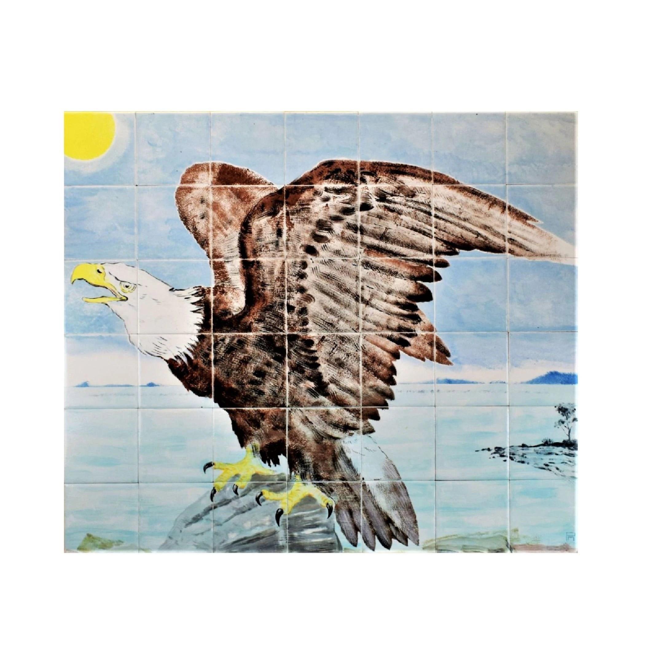Kitchen Backsplash Tile Hand Painted Tiles Bald Eagle