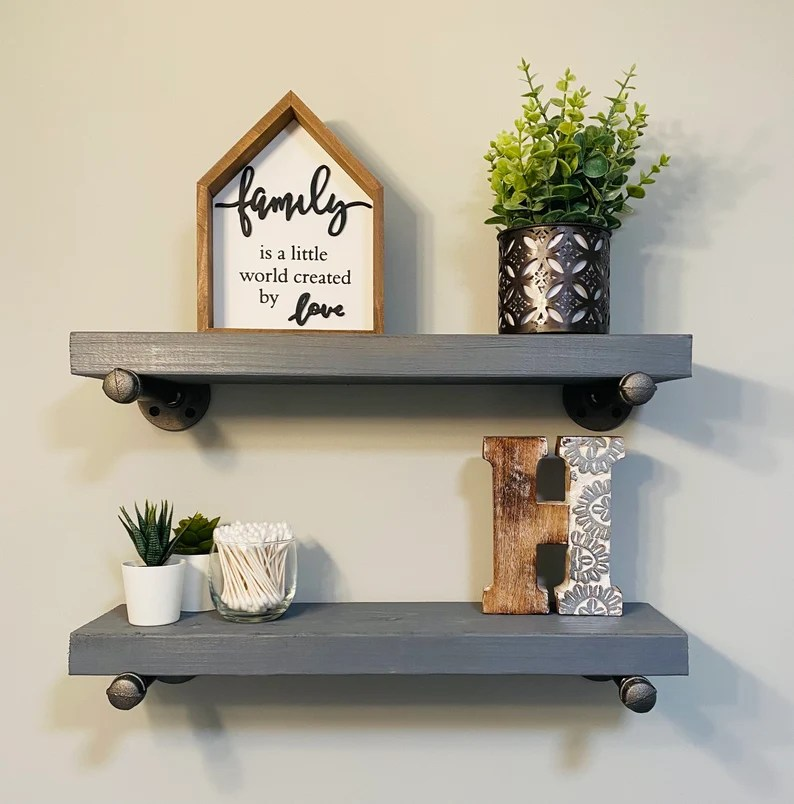 Custom 18in. Long 6in Gray Stained Wood shelves only   QUICK image 0