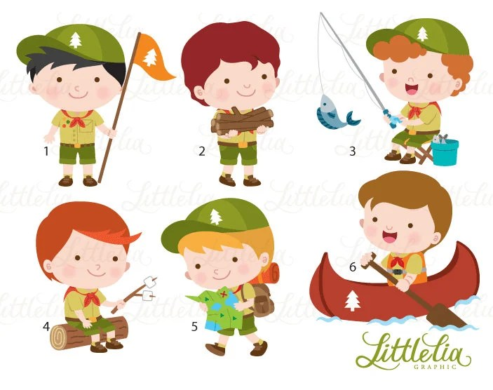 Boys Scout Clipart Boys Camping Clipart 17033 Etsy