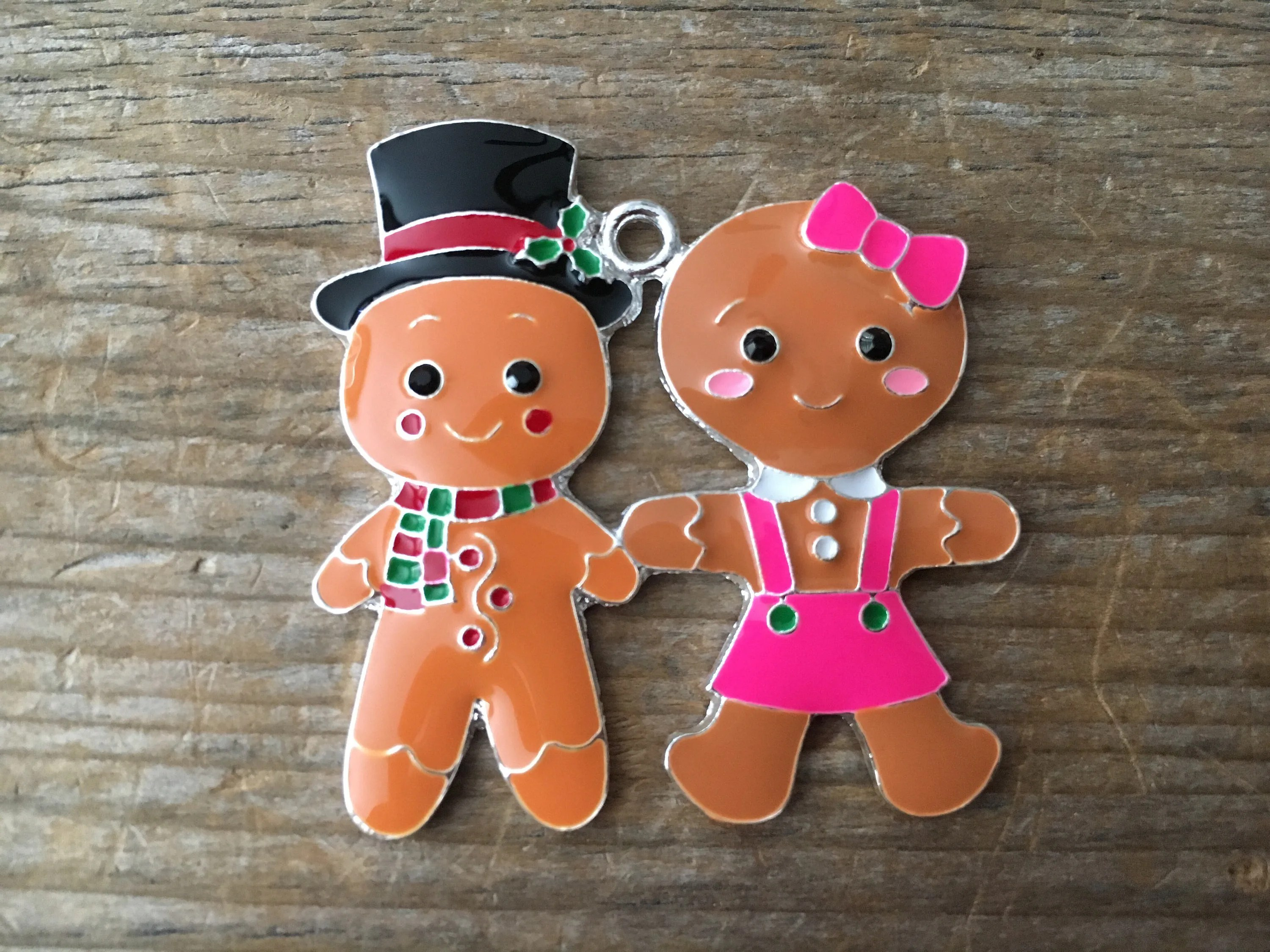 Gingerbread Boy And Girl Pendant Christmas Enamel Chunky