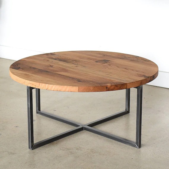 round coffee table reclaimed wood metal base coffee table industrial modern coffee table