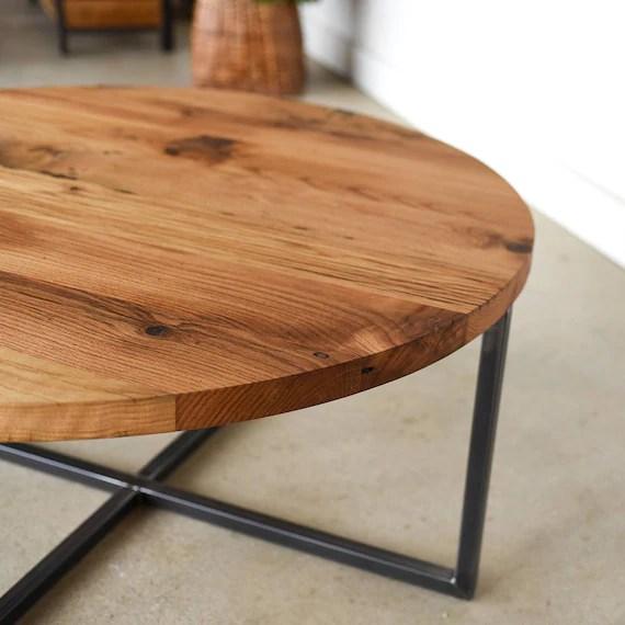 modern round coffee table reclaimed wood metal base coffee table industrial coffee table