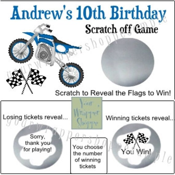 Dirt Bike Quad Motocross Party Game Scratch Off Tickets Game Etsy