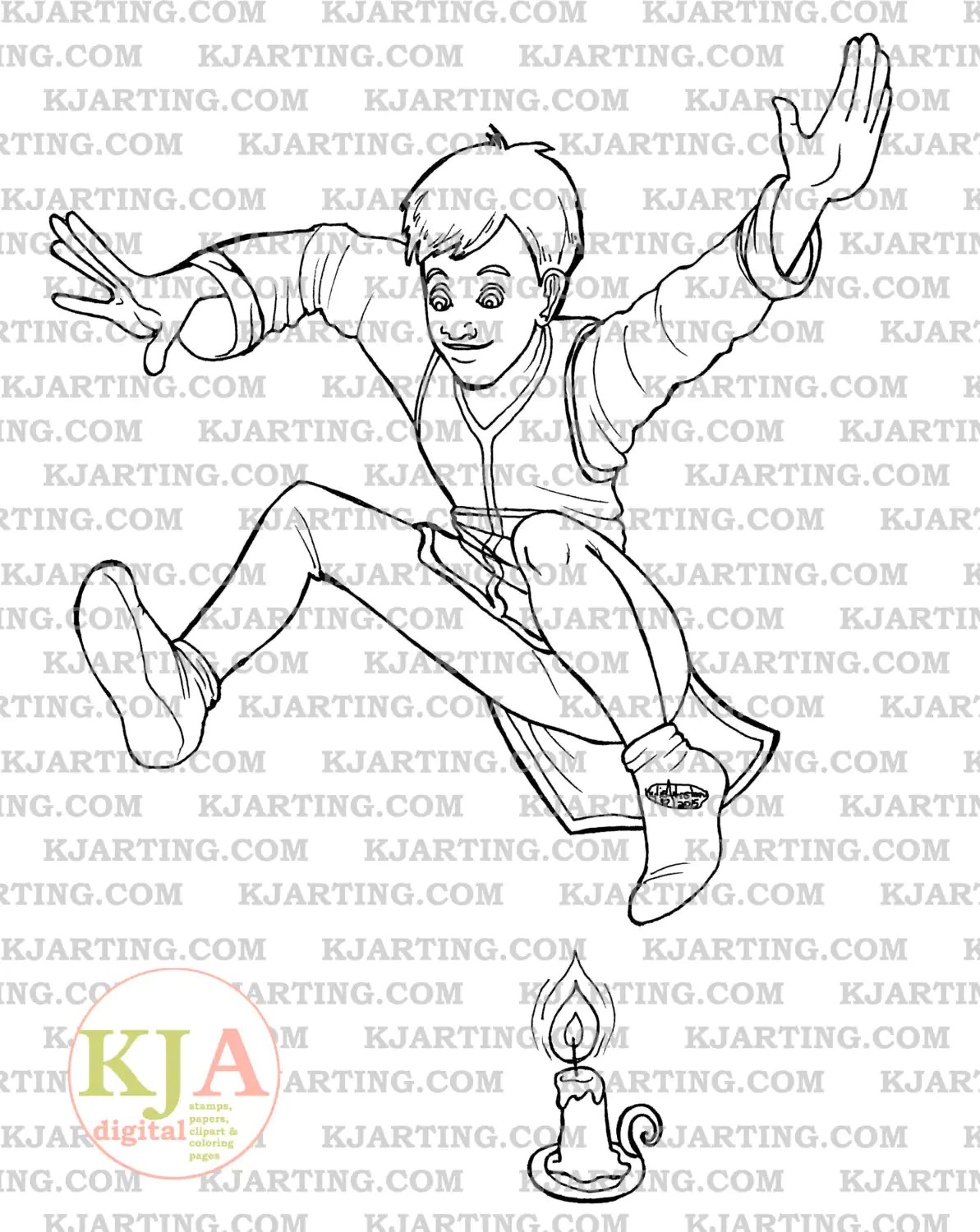 Jack Be Nimble Coloring Page Line Art Printable