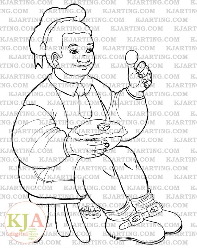 Little Jack Horner Coloring Page Line_Art Printable_10  Etsy