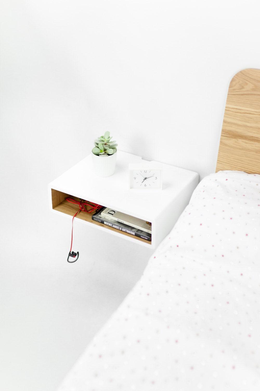Floating White Nightstand Bedside Table Scandinavian Mid
