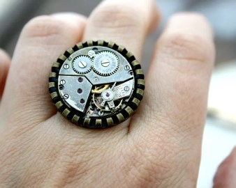 Cocktail Steampunk Ring made of Watch Movement Christmas Gift for a Teenage Daughter.