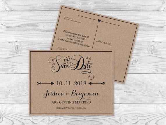 Kraft Paper Save The Date Postcard Templates Rustic Calligraphy Handlettered Typography Editable Printable Pdf Template Diy You Print