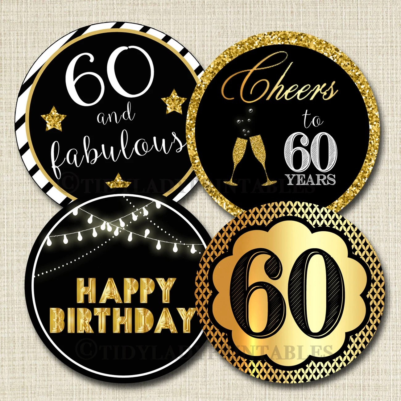 60th Birthday Cupcake Toppers Printable Cheers To Sixy Years Etsy