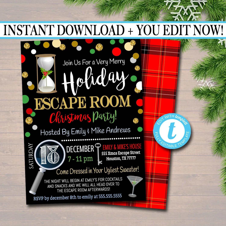 christmas escape room invitation
