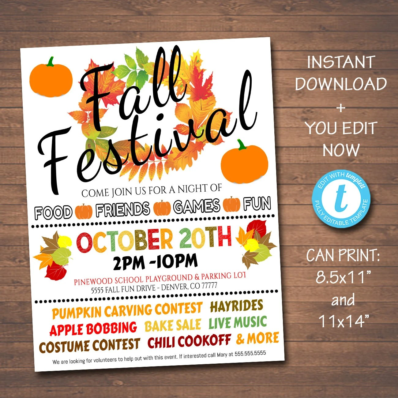 Editable Fall Festival Fall Harvest Flyer Poster Printable
